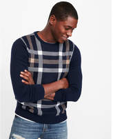 Express plaid front crew neck sweater