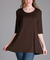 Lily Chocolate Brown Scoop Neck Tunic - Women & Plus