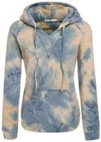 Sunfan Women's Tie Dye V-Notch Fleece Pullover Sweater with Hoodie