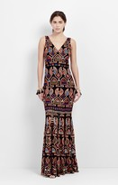 Nicole Miller Symbol Mola Embroidered Gown