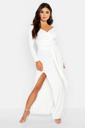 boohoo Off The Shoulder Wrap Thigh Split Maxi Dress