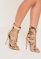Missguided T Bar Strappy Gladiator Heels Gold