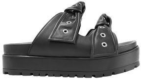 Alexander McQueen Eyelet-embellished Knotted Leather Platform Slides