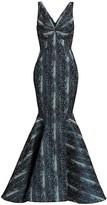 Zac Posen Metallic Party Jacquard Snake Print Mermaid Gown
