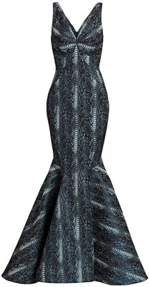 Zac Posen Metallic Party Jacquard Snake Print Mermaid Gown