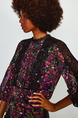 Karen Millen Floral Print Lace Detail Top