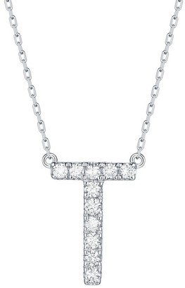 Lab Grown Diamond 'T' Letter Initial Necklace, 1/6 Ctw 10K White Gold by Smiling Rocks