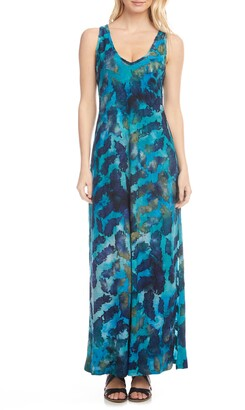 Karen Kane Tie Dye Burnout Sleeveless Maxi Dress