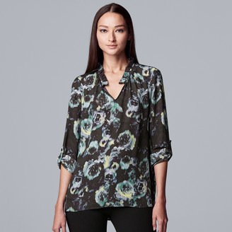 Vera Wang Women's Simply Vera Ruched Neck Roll Tab Top