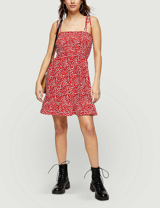 Topshop Floral-print shirred stretch-crepe mini dress