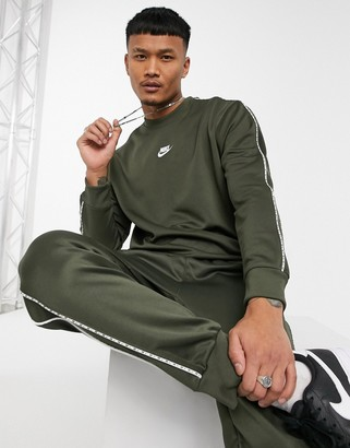 Nike Repeat Pack polyknit logo taping crew neck sweat in khaki