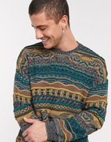 Asos Design DESIGN textured crew neck sweater in multi color design