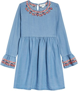 Peek Aren't You Curious Kids' Gabby Embroidered Chambray Dress