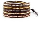 Chan Luu Multi Nugget Sectioned 5-Wrap Brown Leather Bracelet