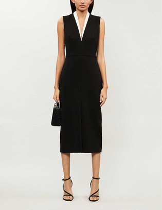 Victoria Beckham V-neck contrast-trim crepe midi dress