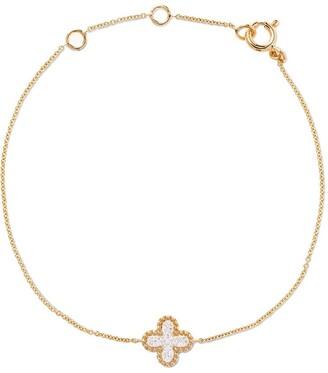 As 29 18kt yellow gold Mye clover beading pave diamond bracelet
