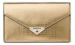 MICHAEL Michael Kors Women's Medium Grace Metallic Leather Envelope Clutch