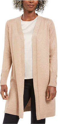 JM Collection Lace-Up-Sleeve Metallic Cardigan