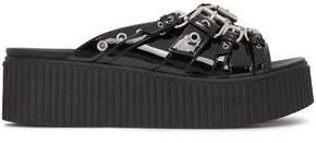 McQ Buckled Patent-leather Platform Slides