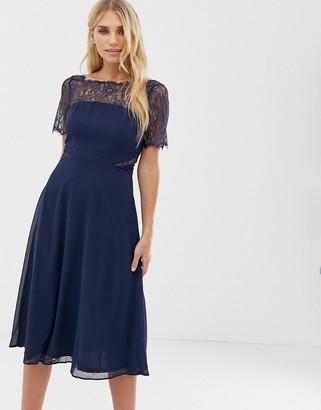 Asos Design Lace Insert Panelled Midi Dress-Navy