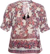 Masscob Floral-print silk-blend top