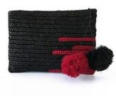 Maraina London Olivia Raffia Pompom Clutch In Black