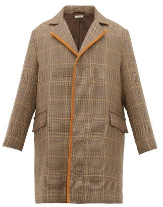 Marni Single-breasted Checked Wool Overcoat - Mens - Beige