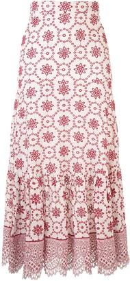 Alexis Eyelet Detail Midi Skirt