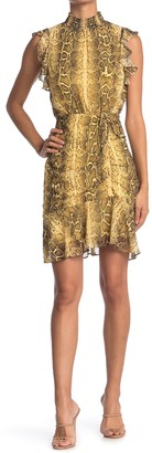 Sam Edelman Sleeveless Snake Skin Print Ruffle Dress