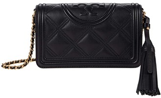 Tory Burch Fleming Soft Wallet Crossbody (Black) Handbags