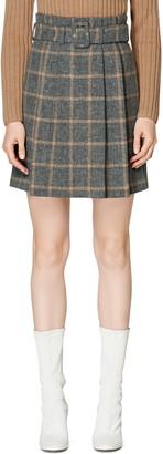 SUISTUDIO Echo Plaid Pleated Alpaca & Wool Blend Miniskirt