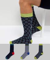 Ted Baker Socks In 3 Pack Gift Set Print