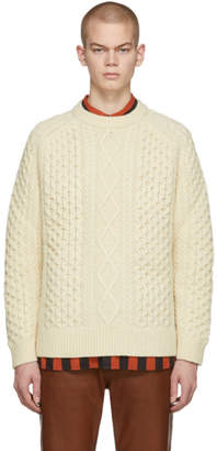 Levi's Clothing Off-White Wool Aran Sweater