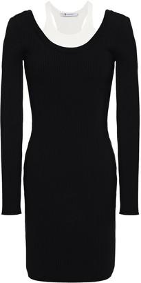 Alexander Wang Paneled Ribbed-knit Mini Dress