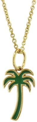 Sydney Evan Enamel Palm Tree Necklace - Yellow Gold