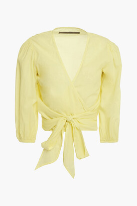 Enza Costa Gathered Cotton-broadcloth Wrap Top