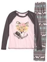 PJ Salvage Girl's Pretty Foxy Fitted Two-Piece Pajamas
