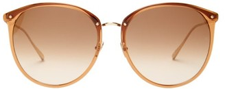 Linda Farrow Round Acetate Sunglasses - Womens - Brown