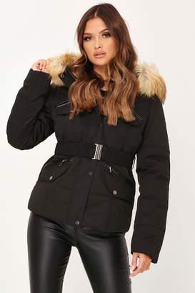 I SAW IT FIRST Black Fur Hood Belted Padded Coat
