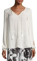 St. John Slit-Sleeve Tie-Front Silk Blouse, Alabaster