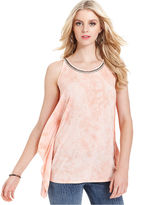 GUESS Top, Sleeveless Scoop-Neck Rhinestone Printed Tank
