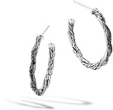John Hardy Twisted Chain Small Hoop Earring with Black Sapphire
