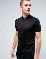 HUGO BOSS HUGO by Daltos Shirt Short Sleeve Mercerised Jersey Slim Fit in Black