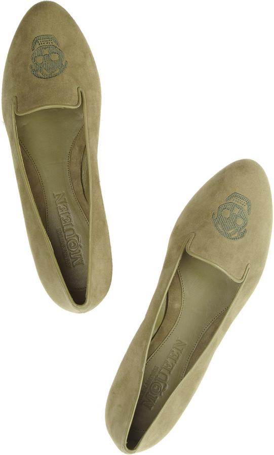 Alexander McQueen Embroidered suede slippers