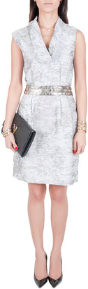 J. Mendel Grey Cotton Waist Embellished Cocktail Dress M