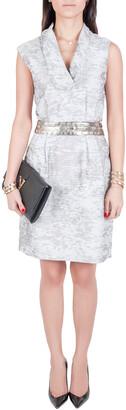 J. Mendel Grey Cotton Waist Embellished Cocktail Dress M