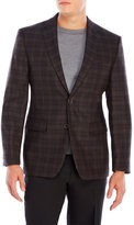 Vince Camuto Brown Plaid Wool Sport Coat