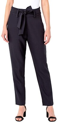 Liverpool Side Zip Trousers with Self Belt (Black) Women's Casual Pants
