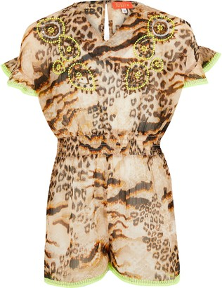 River Island Girls Brown leopard print beach playsuit