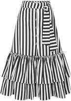 Caroline Constas Ruffled Striped Cotton-poplin Midi Skirt